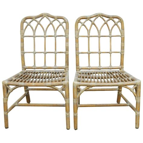 pair of mcguire chippendale bamboo dining chairs