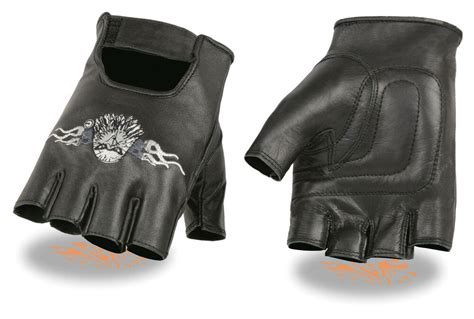 Men's Leather Eagle Head Embroidered Motorcycle Fingerless