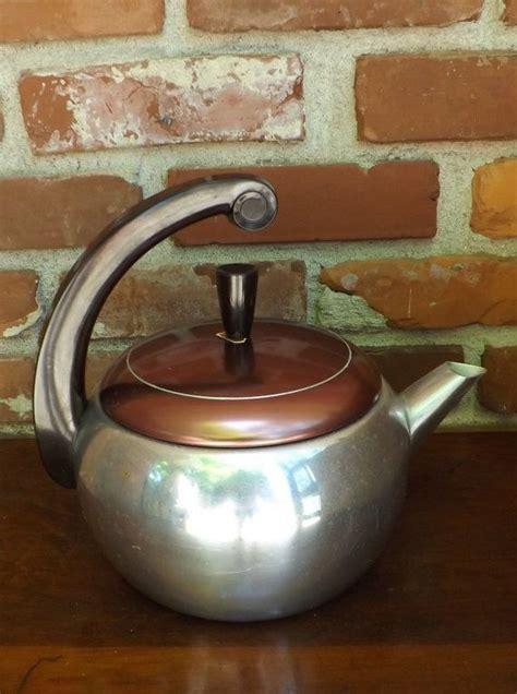 retro tea kettle vintage tea kettle 1950 s aluminum with bakelite handle 1949
