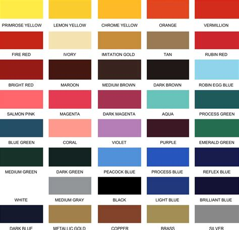 paint color chart elite letters logos