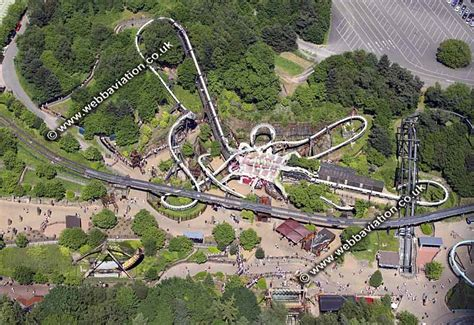 aerial photograph of a roller coaster ride at Alton Towers ...