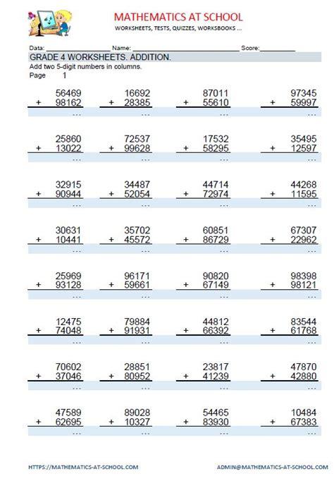 grade 4 maths worksheets addition adding three 4 digit or