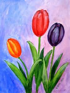 Original Acrylic Painting Tulips On Canvas Board