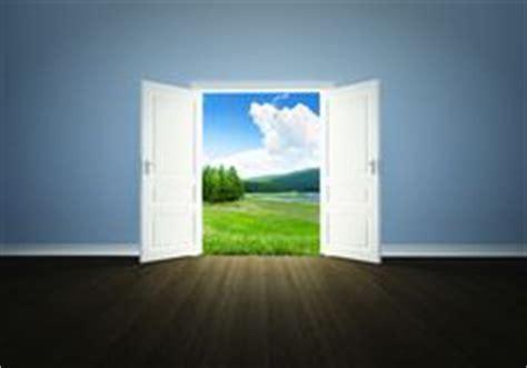 empty room landscape   open door stock photo