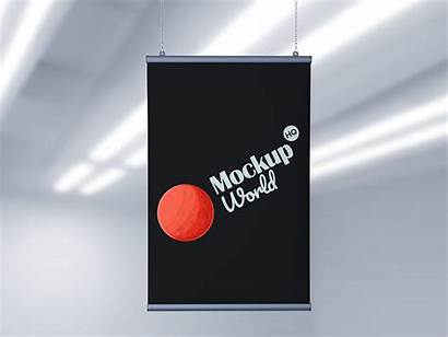 Mockup Advertising Banner Poster Indoor Psd Objects
