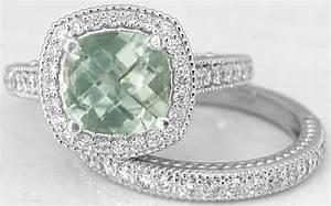 cushion cut green amethyst diamond halo engagement ring With green amethyst wedding ring