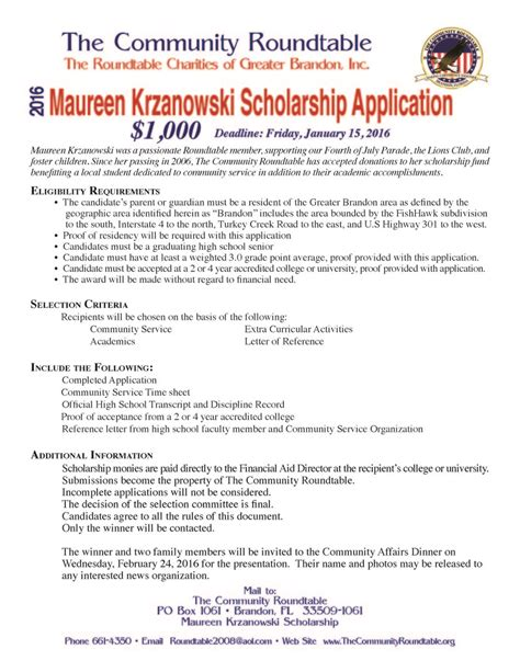 maureen krzanowski scholarship application bloomingdale high school