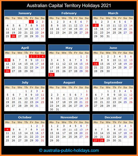 This page contains a national calendar of all 2021 public holidays. Australian Capital Territory Holidays 2021