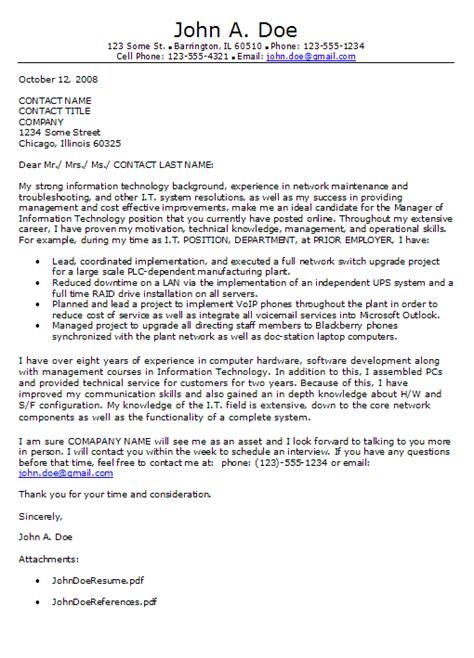 Sle Cover Letter For Internship In Information Technology Information Technology Cover Letter