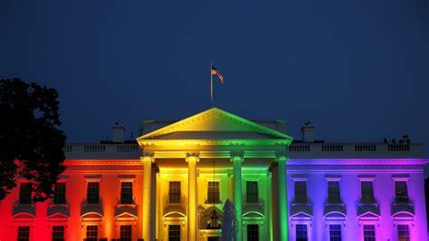 obama turns white house  rainbow