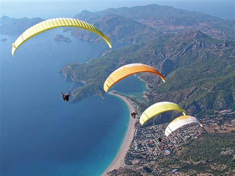 photo paragliding parachute sky air  image