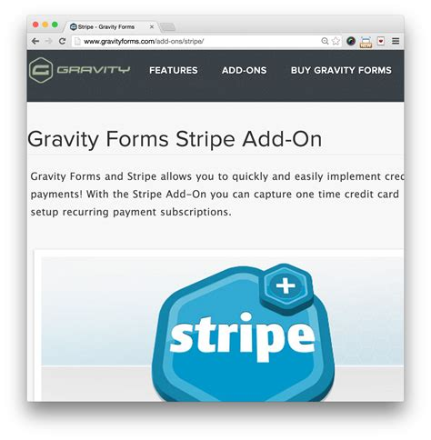 gravity forms stripe add