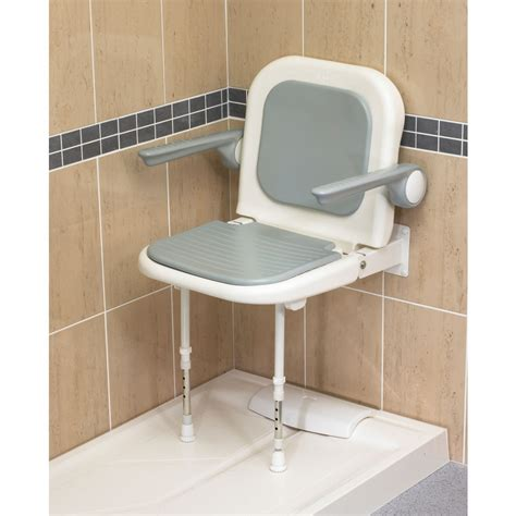 chaise handicap wall mounted fold up grey padded shower seat with back and
