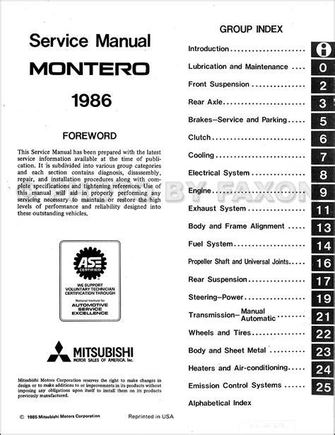 service and repair manuals 1986 mitsubishi precis auto manual 1986 mitsubishi montero repair shop manual original