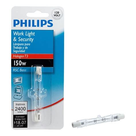 Work Light Bulbs by Philips 150 Watt T3 Halogen 120 Volt Work And Security