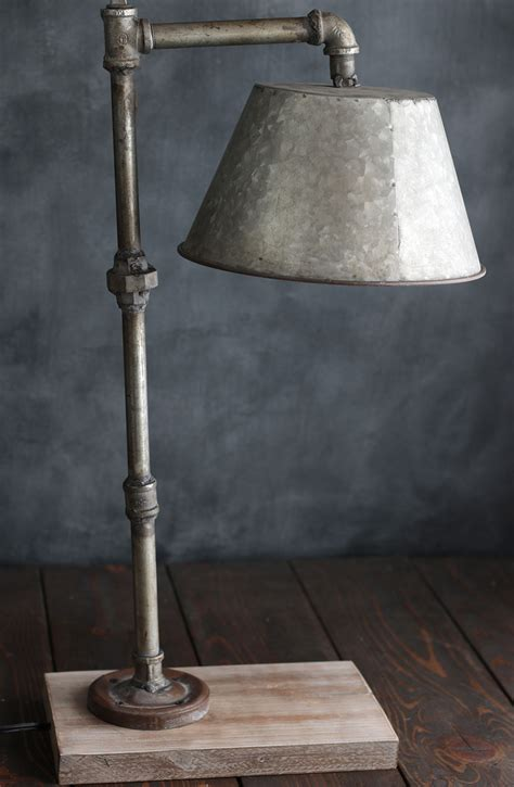 galvanized pipe lighting industrial pipe table l with galvanized shade the