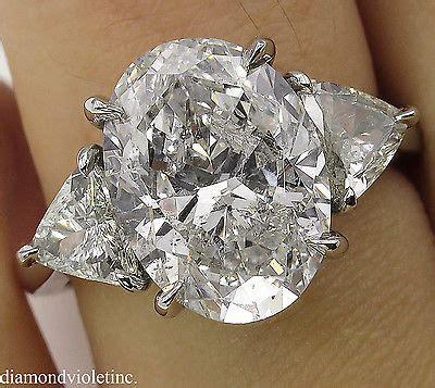 5 66ct estate vintage oval 3 engagement wedding platinum ring egl usa