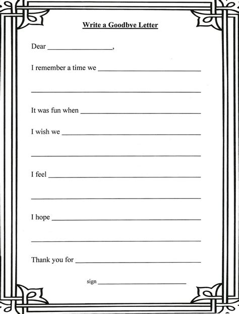grief and loss worksheets writing a letter to the person