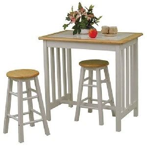 small kitchen table and chairs set with tile top in white