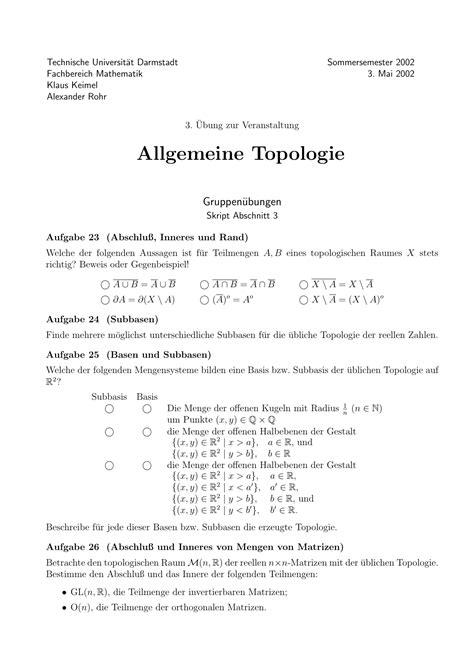 allgemeine topologie tu darmstadtmathematik