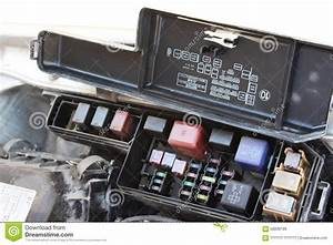 The Fuse Box Under The Hood Stock Photo