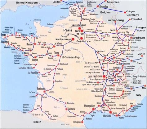 foto de France Train Map of TGV high speed train system with all