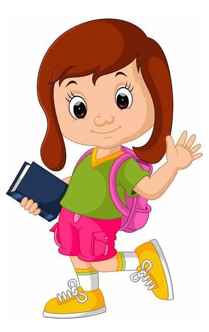 Clip Schoolgirl Vector Illustrations Cartoons