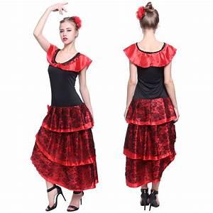 ladies spanish flamenco fancy dress senorita rumba salsa With robe espagnol