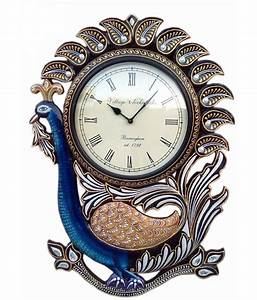 Ethnic india art peacock wooden carving wall clock buy for Wooden wall clocks india