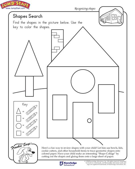shapes search view math worksheet on shapes for 1st