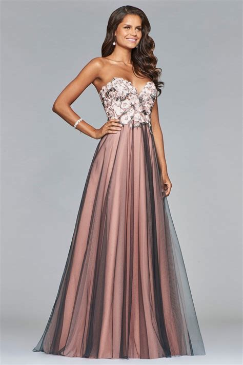 Faviana S10023 Pink and Smoke Princess Gown with Flower ...