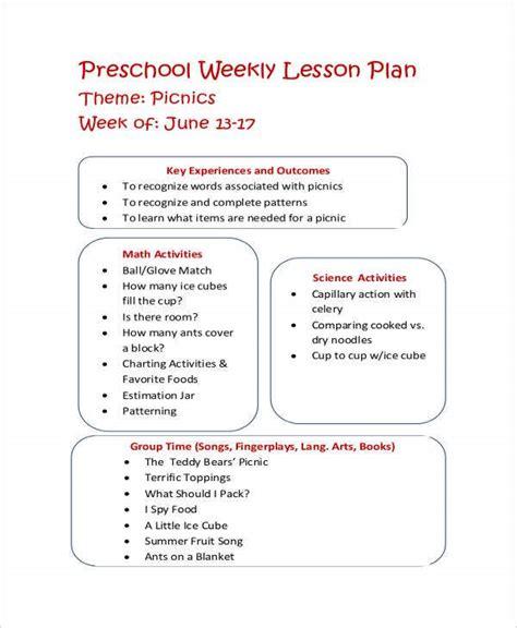 printable preschool lesson plan templates