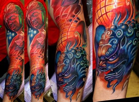 colorful foo dog tattoos