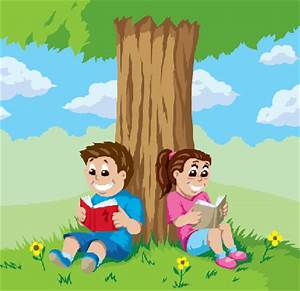 Kids Reading Under A Tree | Clipart | The Arts | Image ...