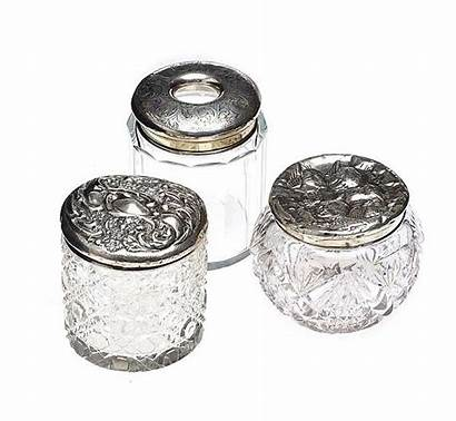 Jars Antique Glass Dressing Topped Three Lot