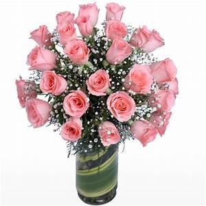2 Dozen Pink Roses in Glass Vase