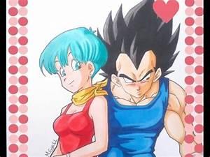 Como dibujar a VEGETA y BULMA Dia del Amor How to draw VEGETA and BULMA Valentin´s Day YouTube