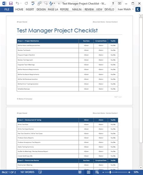 test manager project checklist ms word software testing