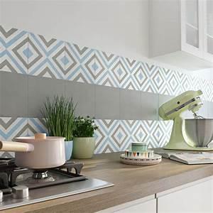 carreau de ciment belle epoque decor anna gris bleu et With carrelage adhesif salle de bain avec led pour hotte