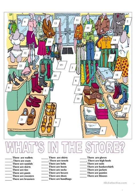 whats   store  images clothes worksheet