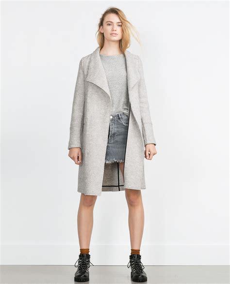 light grey wool zara wool coat in gray light grey lyst
