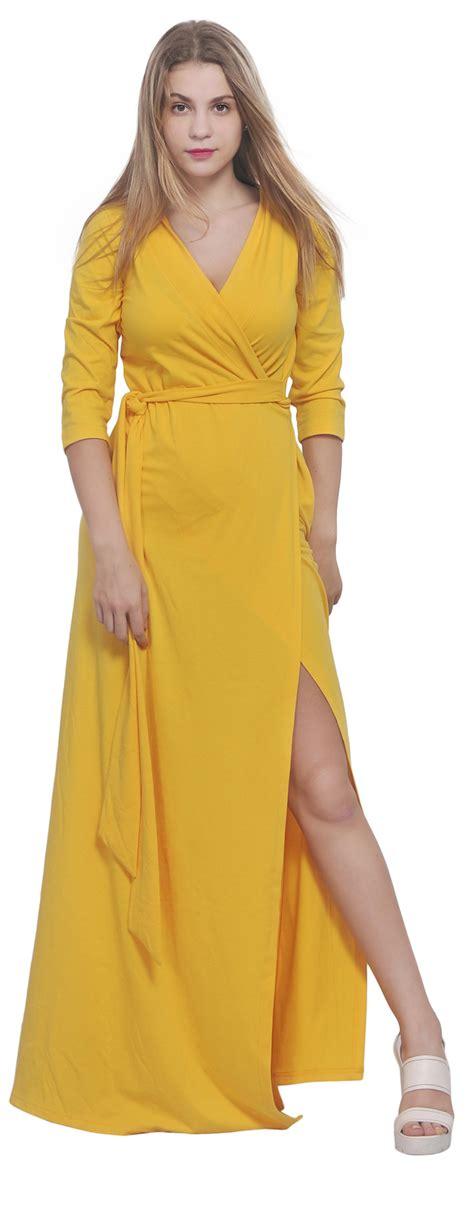 maxi full length wrap dress long sleeve crossover dresses