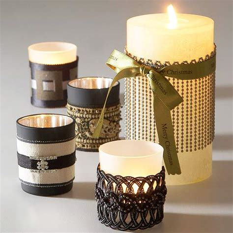 Glass Candle Holders Wrapped Sandwich Paper Raffia Ribbons by Creative Candles To Craft