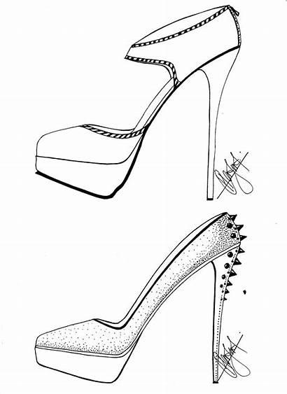 Heels Sketches Heel Drawing Easy Template Sketching