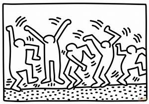 dancing figures by keith haring coloring page free With keith haring figure templates