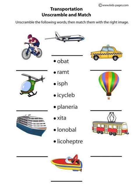 transportation unscramble worksheets clipart