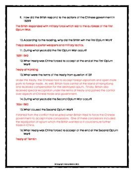 imperialism in china opium wars reading questions and