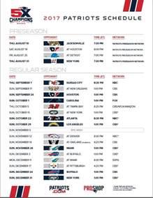 2017 New England Patriots Schedule Printable