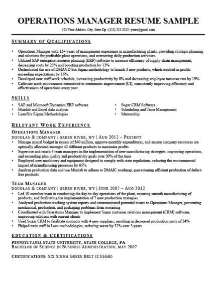 Resume Of Manager Operations by Operations Manager Resume Sle Writing Tips Rc