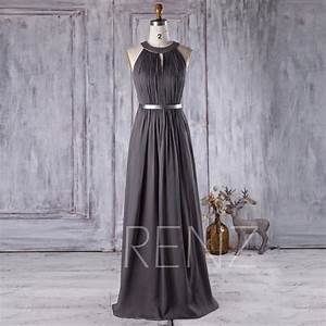 2016 charcoal chiffon bridesmaid dress hollow neck With charcoal dresses for weddings